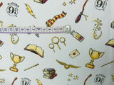 Harry Potter Fabric White Wand Broom Cotton Fabric Craft Cotton Disney Fabric