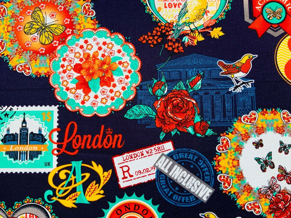 Love London Fabric - Cotton Fabric - Navy Blue Sketchbook Chic Fabric
