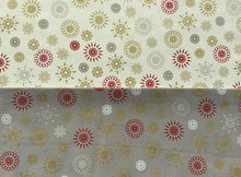 "Load image into Gallery viewer, Xmas Stars Fireworks Cream Silver Grey Fabric Christmas Cotton Fabric 60"" Wide"