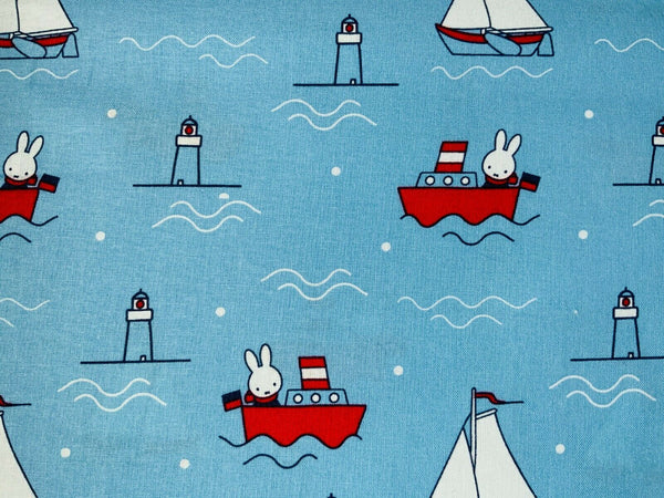 Nursery Fabric Miffy Blue Boats Rabbits Cotton Fabric - Width Approx 112cm/44""