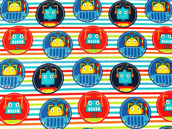 Red Blue Robot Fabric Cotton Fabric, Kids Fabric Boys Fabric Metre Fat Quarter