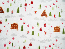 Load image into Gallery viewer, Ski Resort Christmas Fabric, Navy Red Xmas Fabric, 100% Cotton Craft Fabric