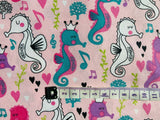 Seahorse Fabric, Nautical Fabric, Cotton Fabric, Beach shells fabric Baby Fabric