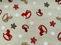 Beige Red Nursery Rocking Horse Fabric Cotton Canvas Heavy Upholstery Fabric