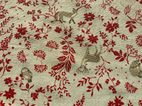 Red Scandi Forest Scene Deer Fox Rabbit Fabric Cotton Canvas Upholstery Fabric - Kims Crafty Corner
