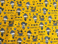 Kids Pirate Fabric Ships Cotton Fabric, Ocean Fabric, Seaside Fabric Coastal