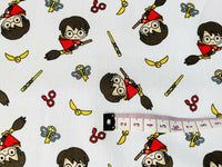 Harry Potter White Flying Broomstick Quiddich Cotton Fabric Craft Quilting Quilt - Kims Crafty Corner