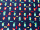 "Navy Blue Beetle Cotton Fabric - Width Approx. 112cm/44"" Bugs Natural History"