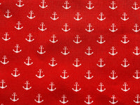 Red Nautical Fabric Cotton Fabric, Boats Fabric, White Anchor Fabric Ocean