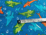 Blue Nautical Fabric Sharks Cotton Fabric, Ocean Fabric, Kids Coastal Fabric