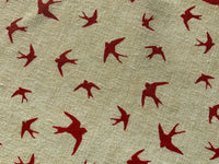 Red Grey Linen Look Scandi Birds Fabric White Cotton Canvas Upholstery Fabric
