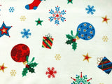 "White Navy Green Presents Baubles Xmas Fabric Christmas Cotton Fabric 57"" Wide - Kims Crafty Corner"