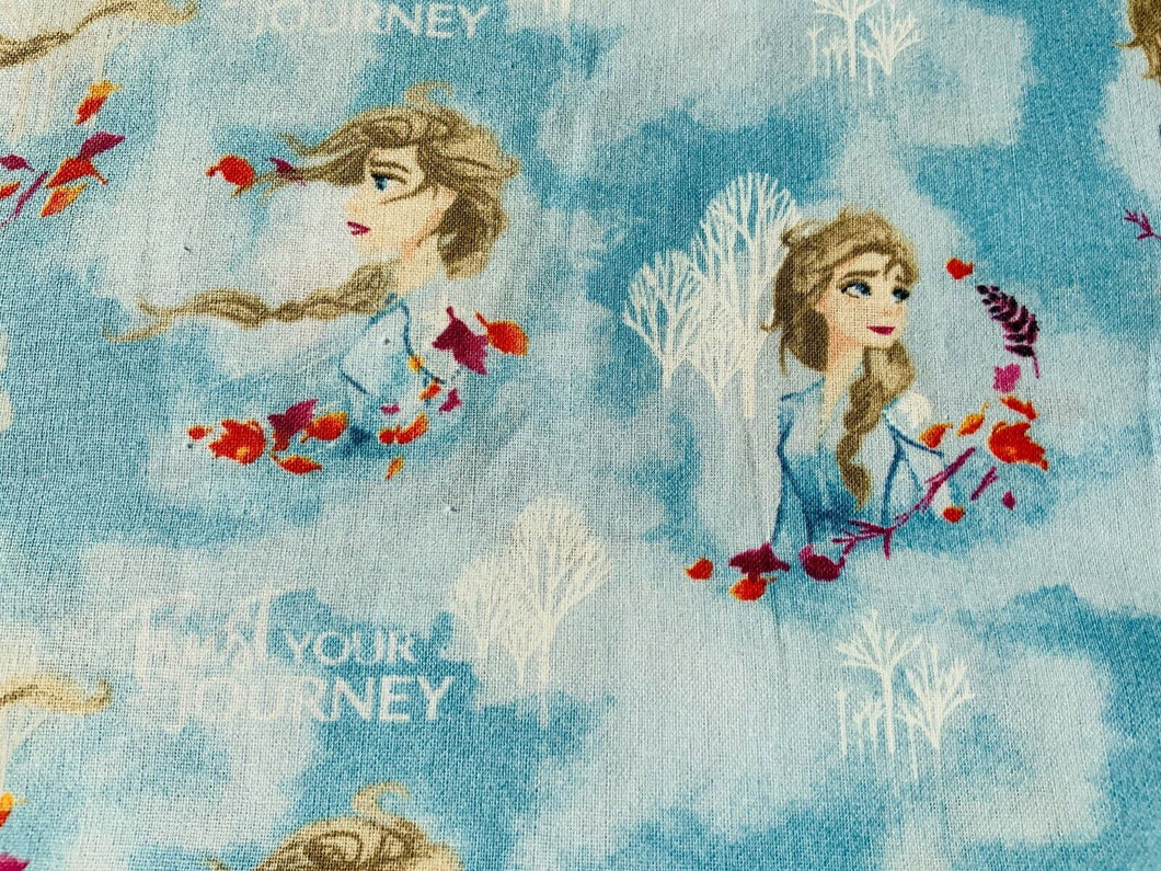 Disney Frozen Elsa Olaf Anna Sven Kristoff Blue Nursery Cotton Fabric Quilting