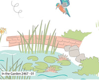 White Kingfisher Nursery Fabric Garden Bird Craft Fabric Cotton Fabric Pond