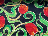 "Black Orange Rust Red Tulip Fabric Craft Cotton Fabric - Width Approx. 112cm/44"" - Kims Crafty Corner"
