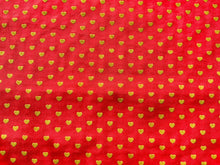 Load image into Gallery viewer, Pink With Gold Yellow Hearts Cotton Fabric Romantic Craft Fabric Valentines Day - Kims Crafty Corner