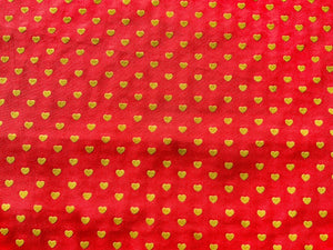 Pink With Gold Yellow Hearts Cotton Fabric Romantic Craft Fabric Valentines Day - Kims Crafty Corner
