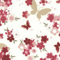 "Rose Butterflies Pink Butterfly Cotton Fabric - Width Approx. 112cm/44"" - Kims Crafty Corner"