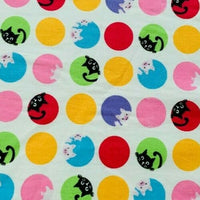 "Cat and Pig Circles Cotton Fabric - Width Approx. 112cm/44"" Sold by the Metre"