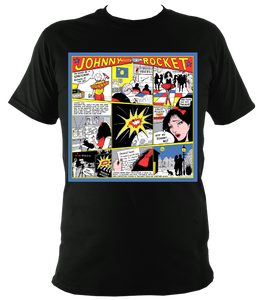 'Johnny Rocket' Cartoon Strip Tee - Unisex in Black (Sm-3XL)
