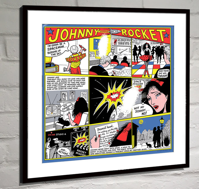 Only 2 left in stock... DELUXE METALLIC 'FOIL FINISH' PRINT – 'The JOHNNY ROCKET CARTOON STRIP'