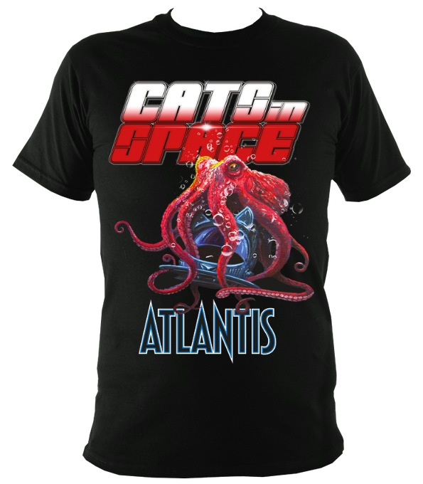 Unclaimed Pre-orders....ATLANTIS OCTOPUS Black Tee - Unisex and Women's Styles