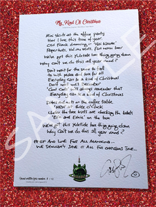 'MY KIND OF CHRISTMAS'  HANDWRITTEN LYRICS - 2019 CATS in SPACE