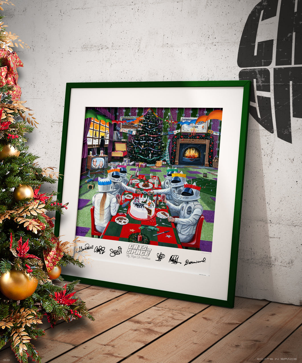 "MY KIND OF CHRISTMAS - CATS' CHRISTMAS DAY - LIMITED band signed album artwork by Andy Kitson print 24"" x 20"""