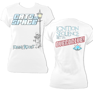 EXCLUSIVE to WEB STORE TEES 'JOHNNY ROCKET' -  FITTED WOMEN'S in WHITE (M - 2XL)