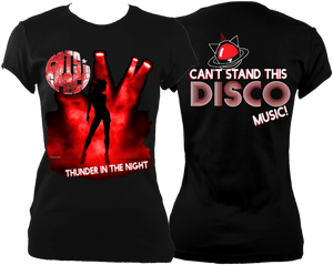 EXCLUSIVE to WEB STORE TEES 'THUNDER IN THE NIGHT' - FITTED WOMEN'S in BLACK (M - 2XL)