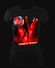 Load image into Gallery viewer, EXCLUSIVE to WEB STORE TEES 'THUNDER IN THE NIGHT' - FITTED WOMEN'S in BLACK (M - 2XL)
