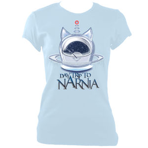 EXCLUSIVE to WEB STORE TEES 'Daytrip to Narnia' - Ice Pod -  FITTED WOMEN'S in ICE BLUE (Sm - 2XL)