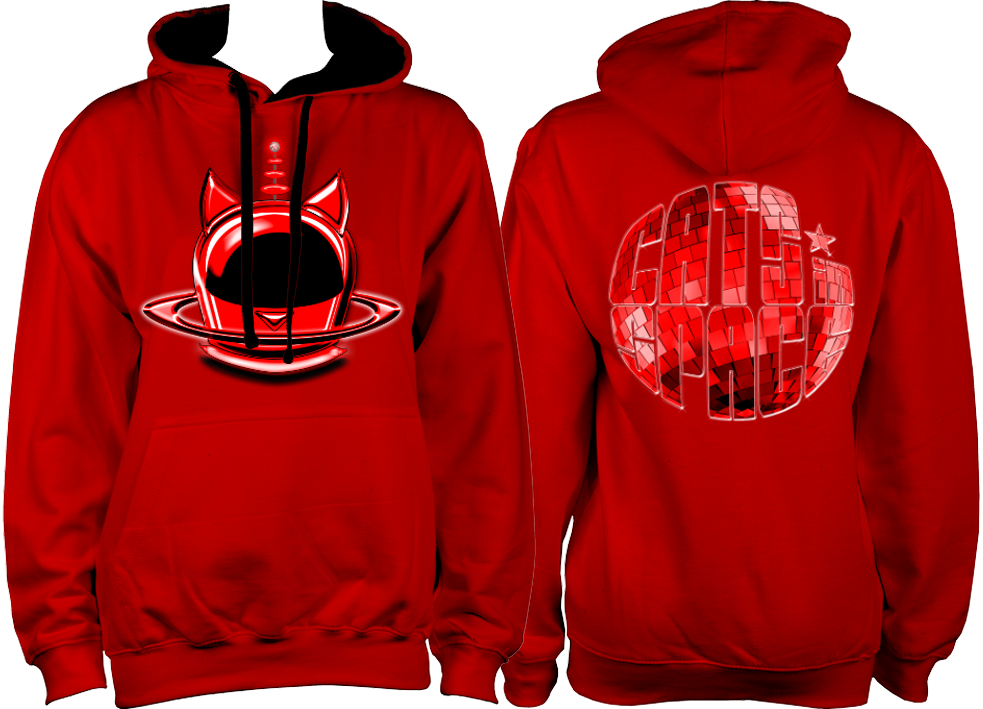 CATS in SPACE 'Red Cat Pod and Mirrorball' Fire Red & Jet Black Hoodie (Sm - 2XL)
