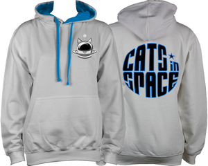 CATS in SPACE Classic Cat Pod Grey & Sapphire Hoodie (Sm - 2XL)