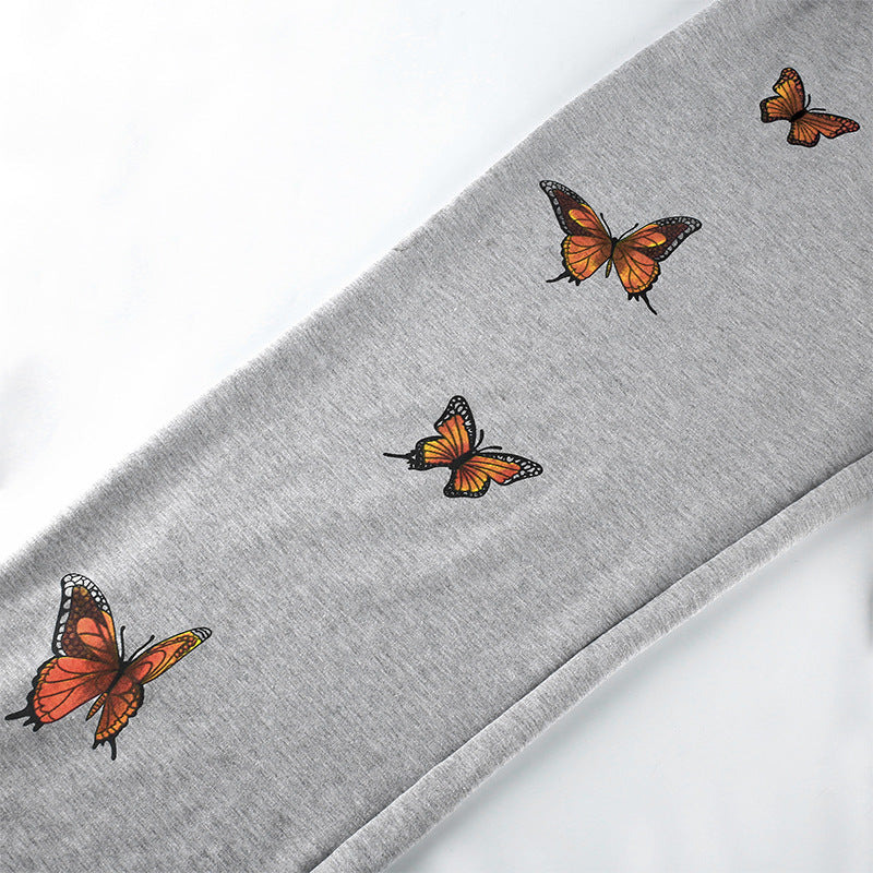 Shophot butterfly printed sweatpants for women main picture (details_3d printed)