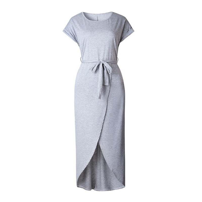 Casual Knot Maxi Dress for Women, Short Sleeve, Tied Front