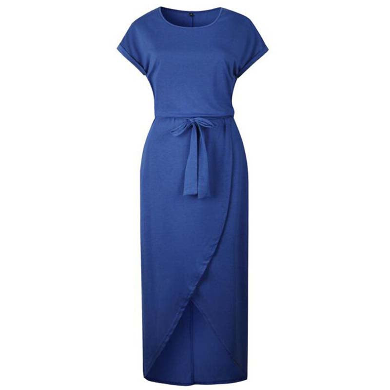 Casual Knot Maxi Dress for Women, Short Sleeve, Tied Front, Blue
