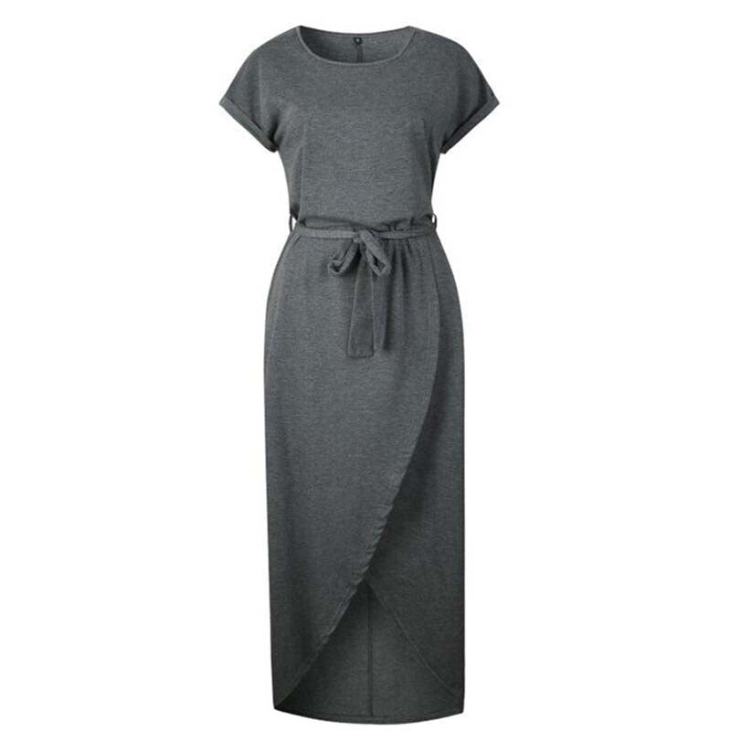 Casual Knot Maxi Dress for Women, Short Sleeve, Tied Front, Dark Grey