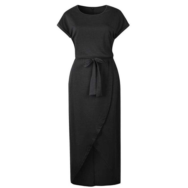 Casual Knot Maxi Dress for Women in Black, Short Sleeve, Tied Front