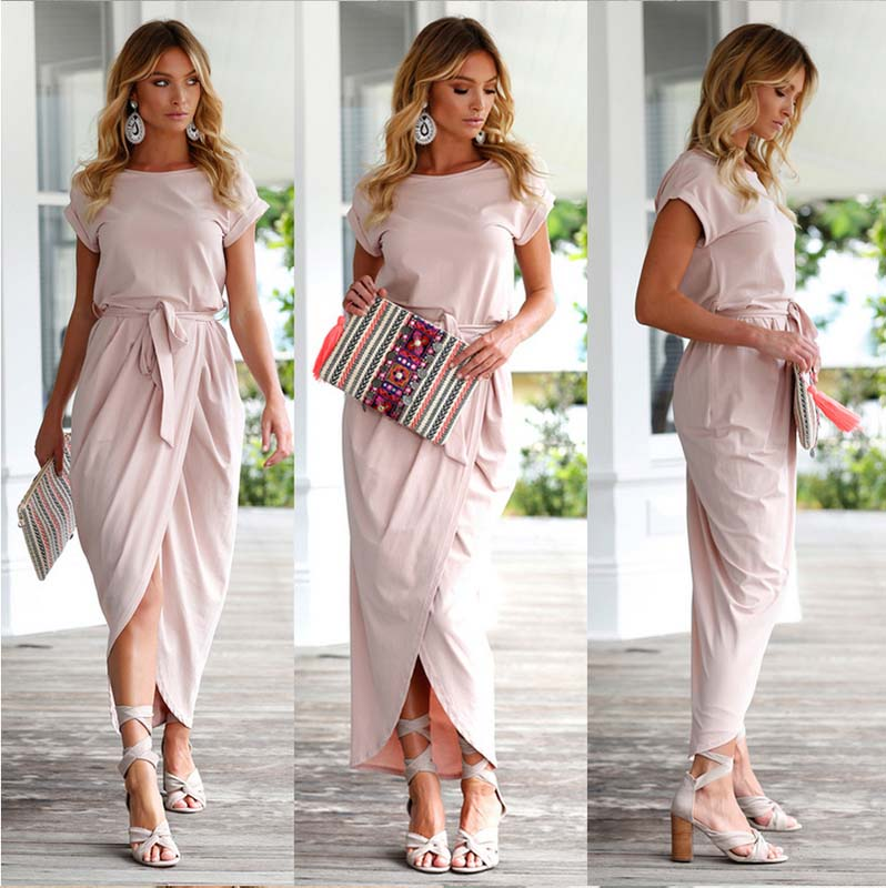Casual Pink Knot Maxi Dress for Women, Short Sleeve, Front Tie