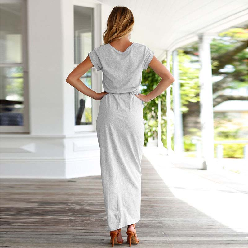Casual Knot Maxi Dress for Women in Grey, Model, Back