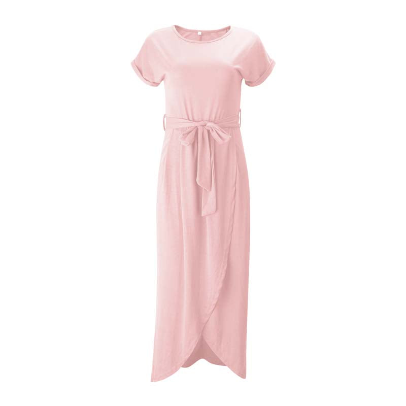 Pink Casual Knot Maxi Dress for Women, Short Sleeve, Tied Front