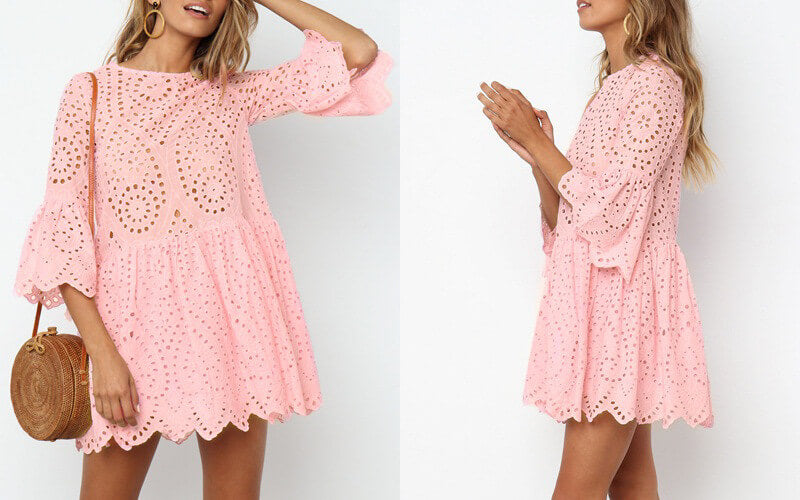 Ruffle Hollow Out Pink Dress