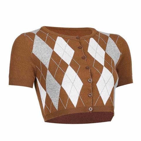 Brown Argyle Knitted Crop Top Cardigan for Women