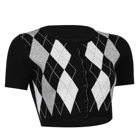 Black Argyle Knitted Crop Top Cardigan for Women