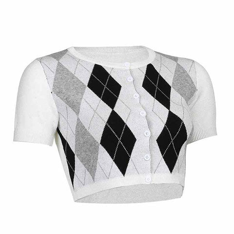 White Argyle Knitted Crop Top Cardigan for Women