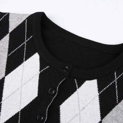 Black Argyle Knitted Crop Top Cardigan for Women O-Neck