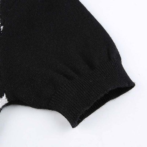 Black Argyle Knitted Crop Top Cardigan for Women Short Sleeve