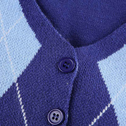 Blue Argyle Knitted Crop Top Cardigan for Women Buttons at the Front