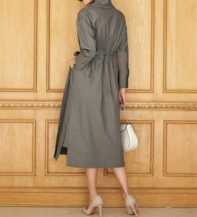 2021 Spring New Women's Cotton Shirt Dress with Slits